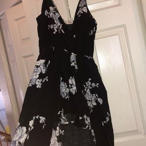 Black and blue floral High low short dress
